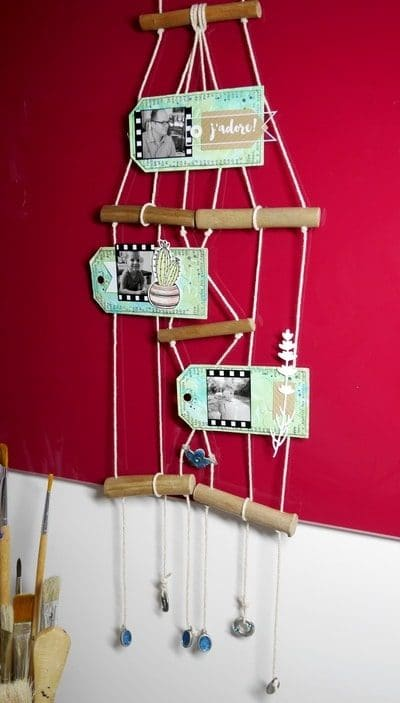 Objet décoratif en suspension bois et scrap
