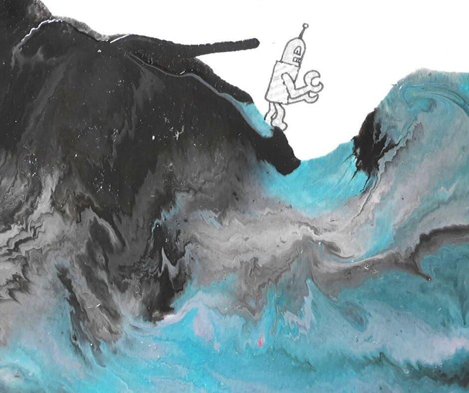 Utilisation de la technique de pouring acrylique dans un carnet créatif, art journal.