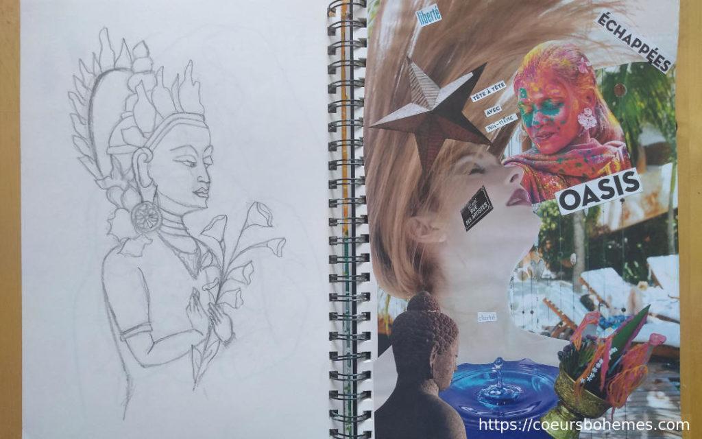 Carnet créatif avec le journaling visuel de Sabrina cœurs bohèmes