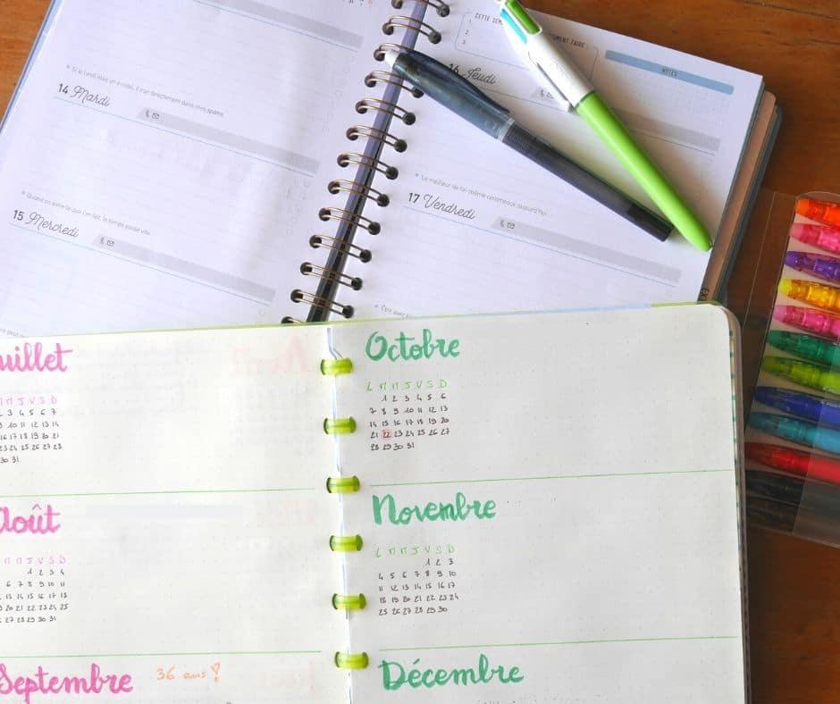 agenda et bullet journal pour d'organiser au quotidien