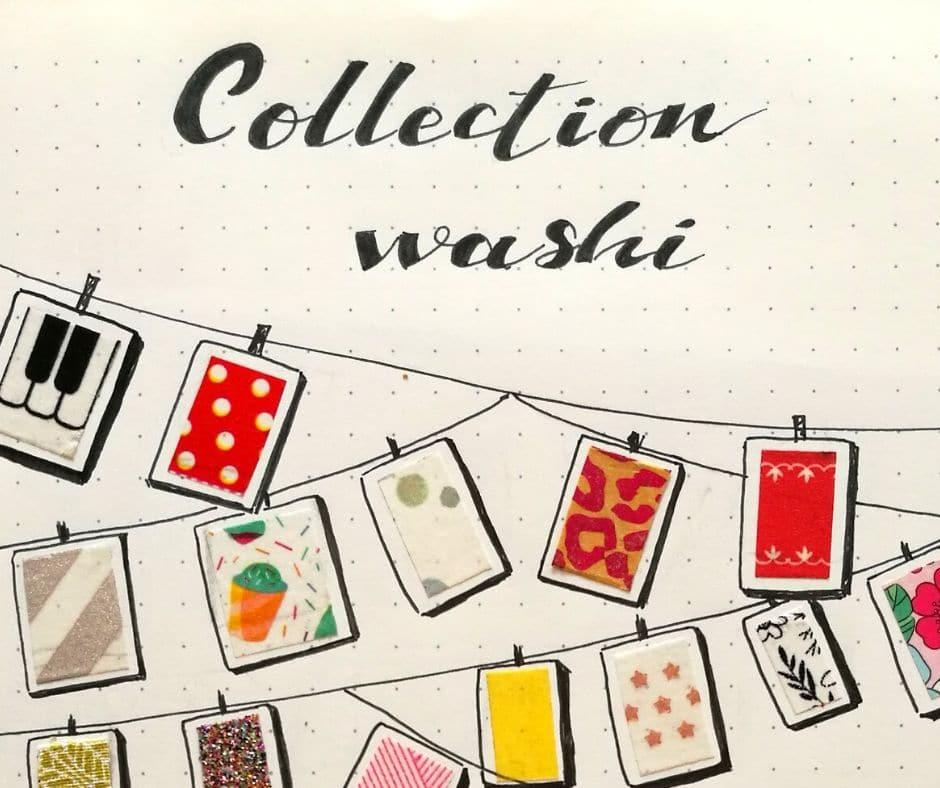 Collection de washi tape dans un bullet journal - illustration