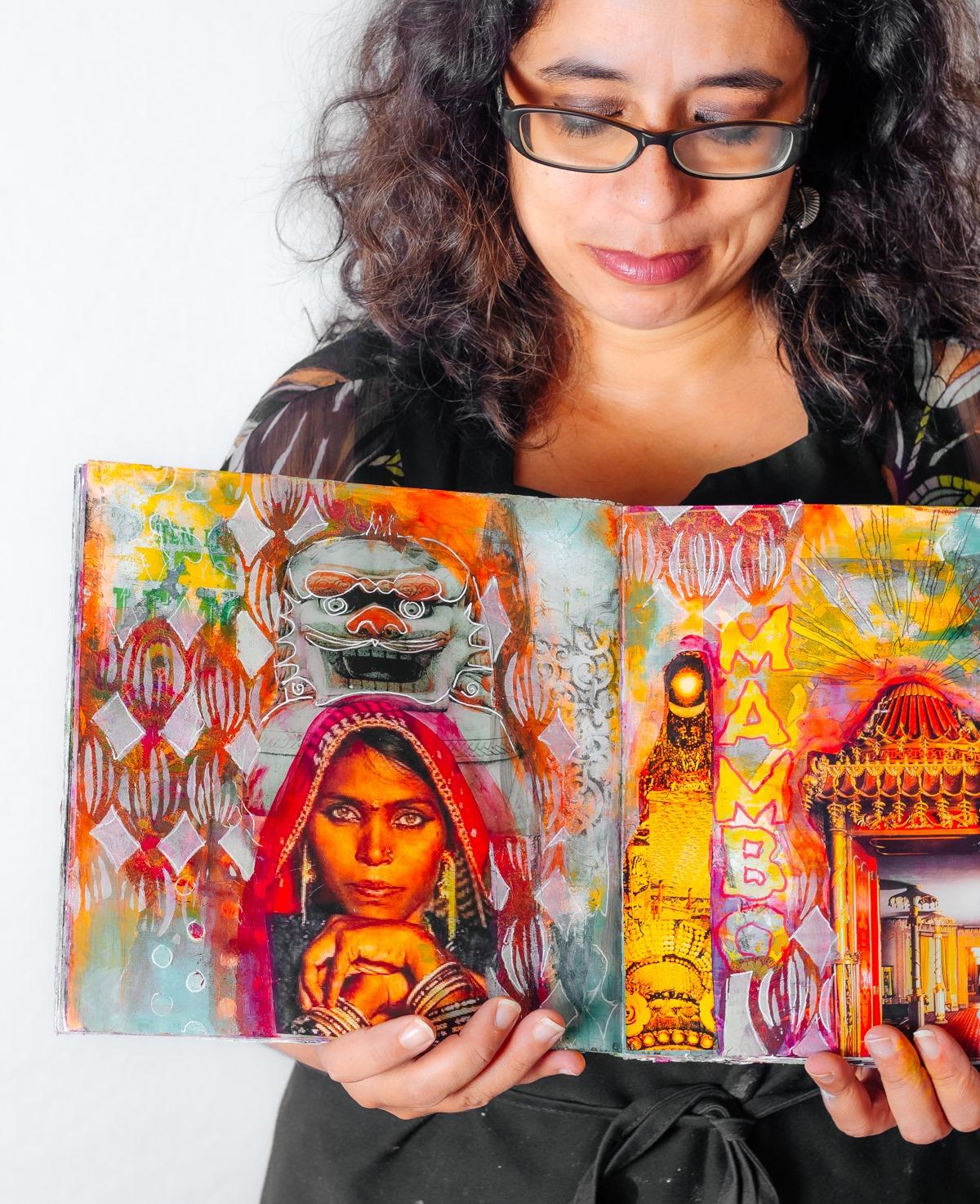 Alice avec son art journal