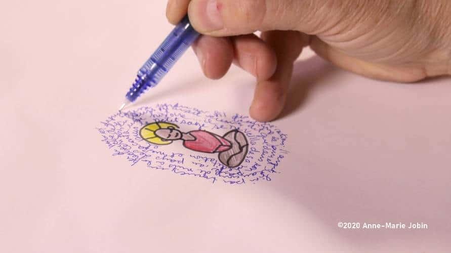 écriture intuitive dans un journal créatif
