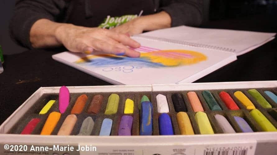 journal créatif et pastel sec